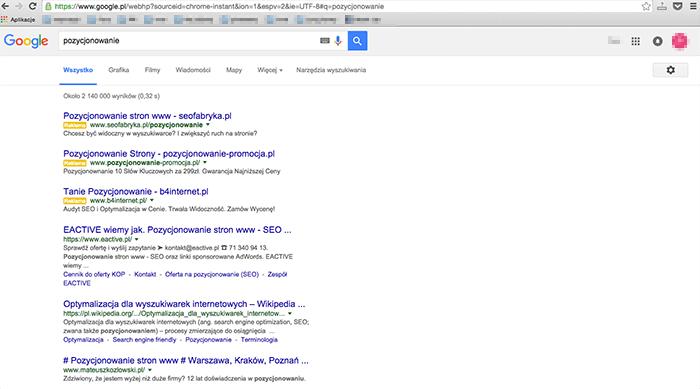 Wyniki wyszukiwania bez sidebara